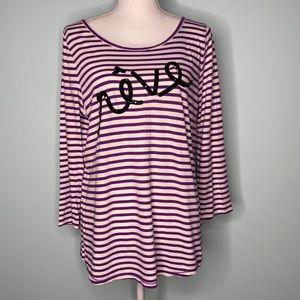 J Crew purple/white striped top